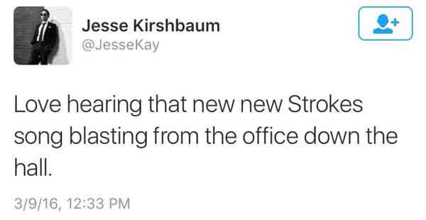 Jesse Kirshbaum Tweet