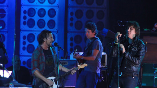 Julian Casablancas on stage with Pearl Jam